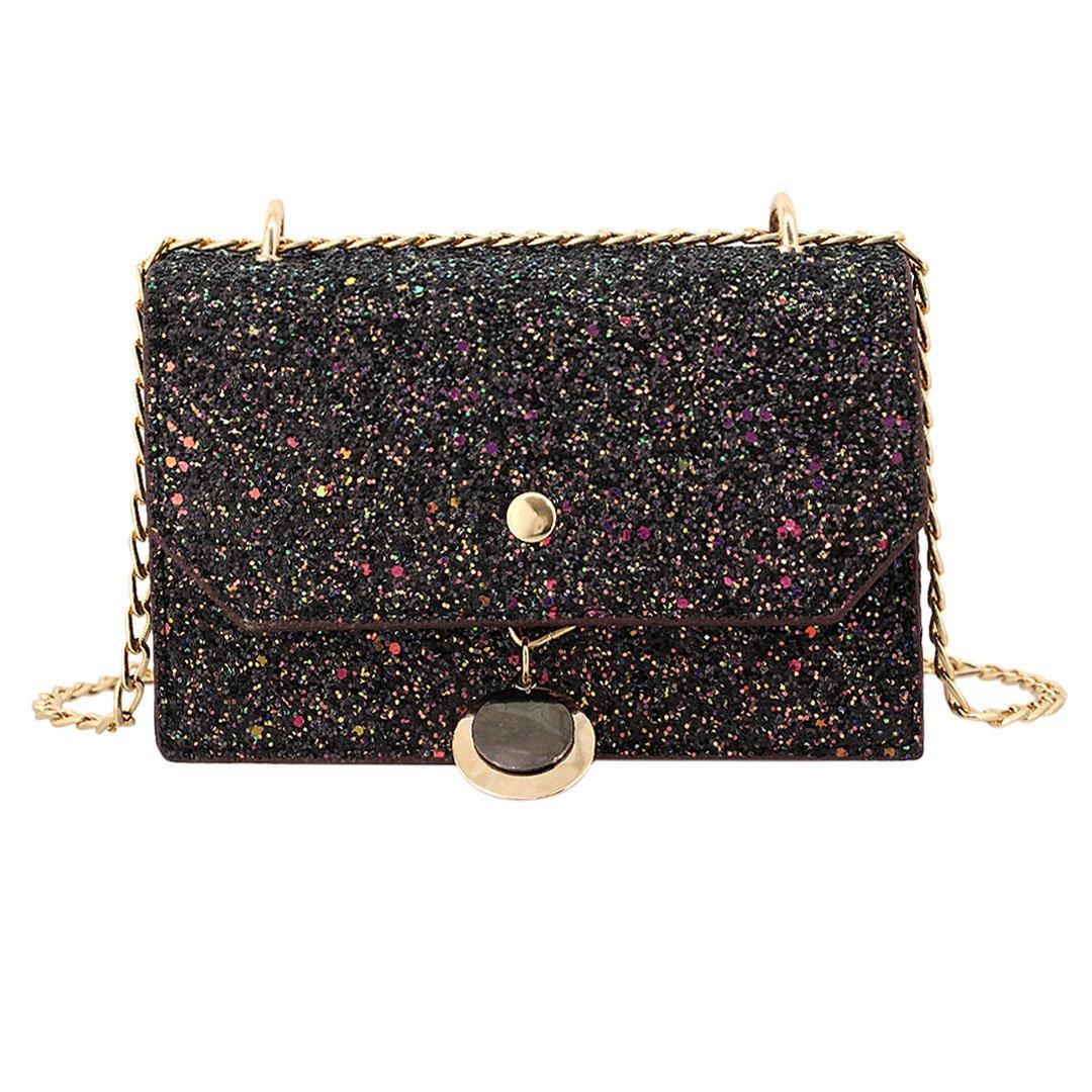 Gabrine Womens Shoulder Crossbody Evening Bag Handbag Clutch Purse Glitter Sequin for Dailywear Wedding Party(Black)