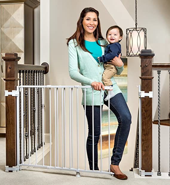 Regalo 2 In 1 Stairway And Hallway Wall Mounted Baby Gate Bonus Kit Includes Banister And Wall Mounting Kit Indoor Safety Gates Baby