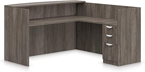 Offices To Go L Shaped Reception Desk W Drawers W Transaction Top 71 W X 30 D X 42 H Reception Return 42 W X 24 D X 42 H – Artisan Grey AGL