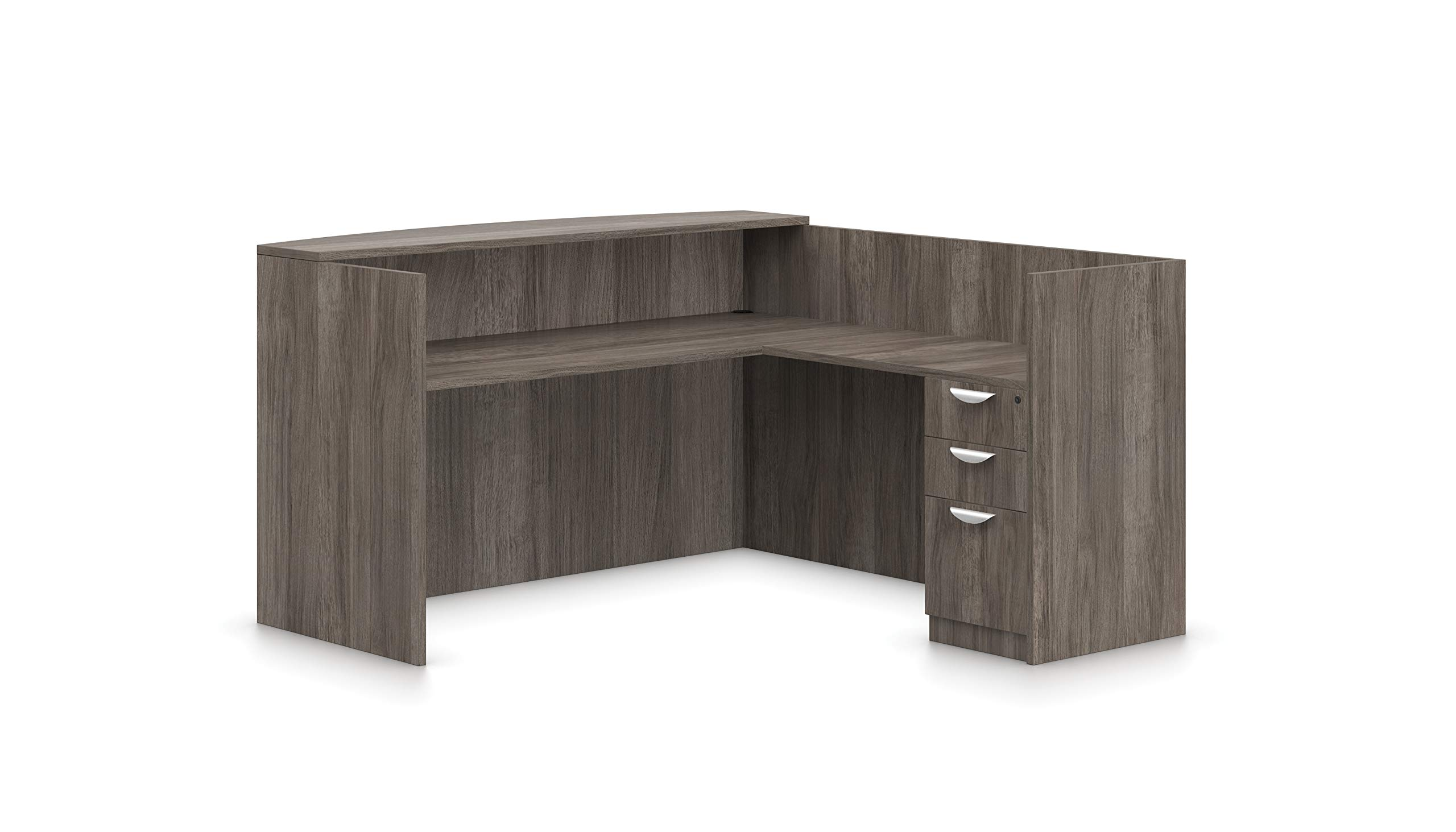 Offices To Go L Shaped Reception Desk W/Drawers W/Transaction Top 71'' W X 30'' D X 42'' H Reception Return 42'' W X 24'' D X 42'' H - Artisan Grey AGL by Offices To Go