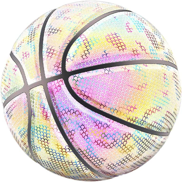 Glowing Reflective Basketball LIOOBO Holographic Basketball Gifts Toys for Kids and Boys Luminous Basketball with 1 Pc Mesh Bag and 2 Pcs Gas Pin