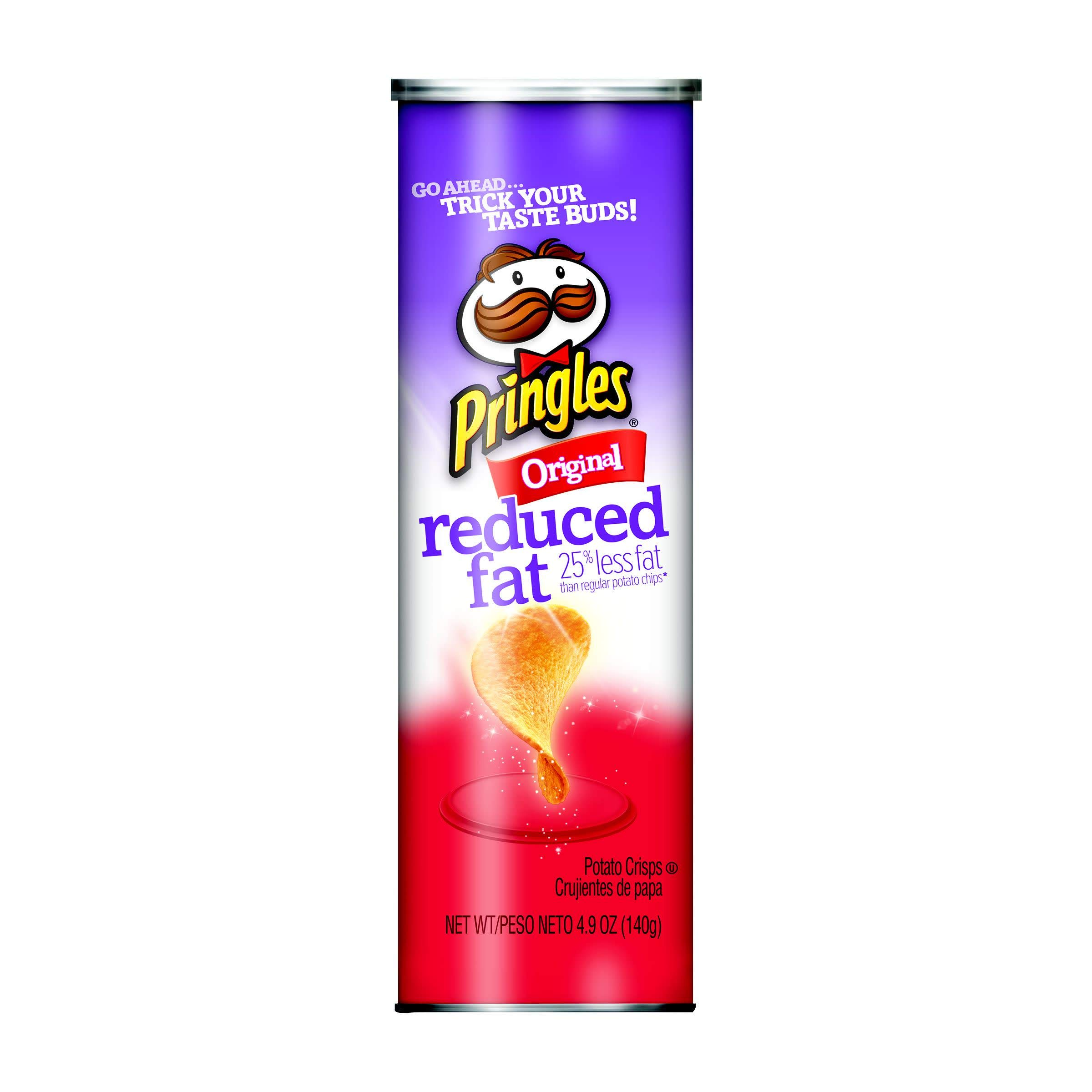 Pringles Potato Crisps Chips, Reduced Fat, Original Flavored, 4.9 oz Can by Pringles (Image #1)