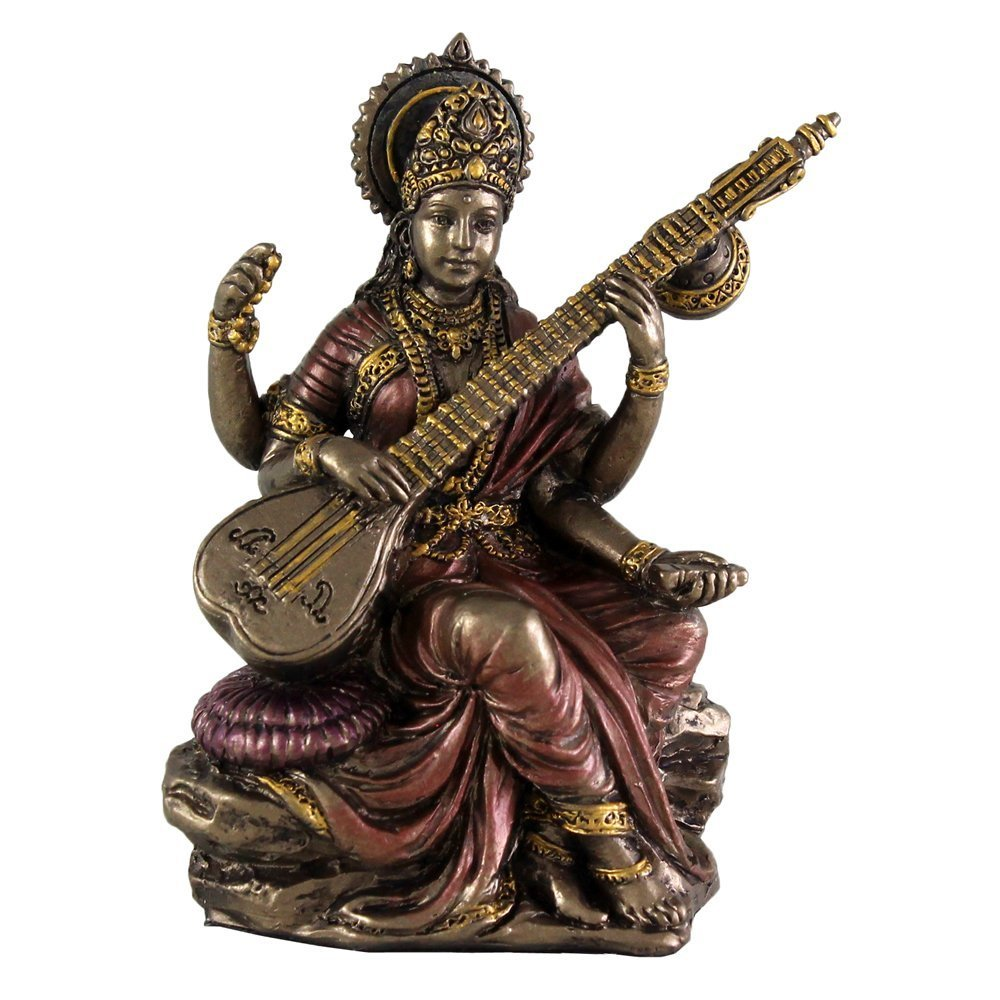 Top Collection Mini 3.125'' Saraswati - Hindu Goddess of Knowledge, Music, Arts, and Wisdom. Bronze Powder Mixed with Resin - Bronze Finish with Color Accents. by Top Collection