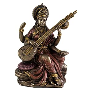 """Top Collection Mini 3.125"""" Saraswati - Hindu Goddess of Knowledge, Music, Arts, and Wisdom. Bronze Powder Mixed with Resin - Bronze Finish with Color Accents."""