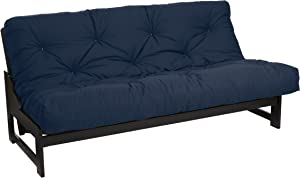Mozaic Queen Size 6-inch Cotton Twill Futon Mattress, Navy