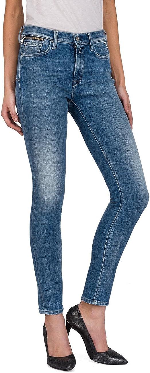 Replay Damen Zackie Skinny Jeans Blau (Mid Blue Denim 10)