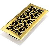 Accord AMFRPBC410 Charleston Floor Register, 4-Inch x 10-Inch, Polished Brass