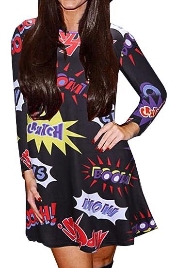 Scothen Vestido de cóctel de Navidad de manga larga para mujer Vestido de fiesta festivo de