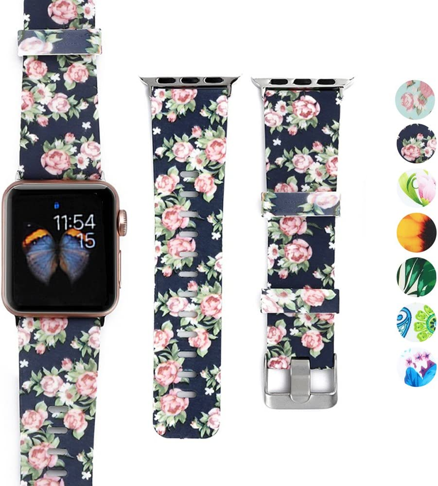 DEALELE Bands Compatible with iWatch 38mm 42mm 40mm 44mm, Colorful Printing Pattern Silicone Replacement Strap for Apple Watch Series 5/4 / 3 Women Men (Rose Navy, 38mm/40mm)