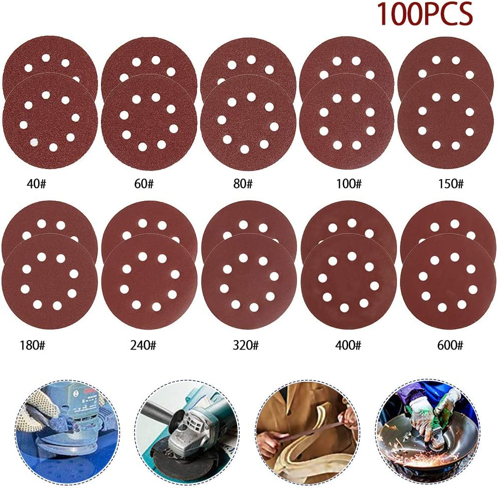 2//10Pcs 5/'/' 8 Hole Sanding Discs Sandpaper For Polishing Grinding 40-2000 Grit