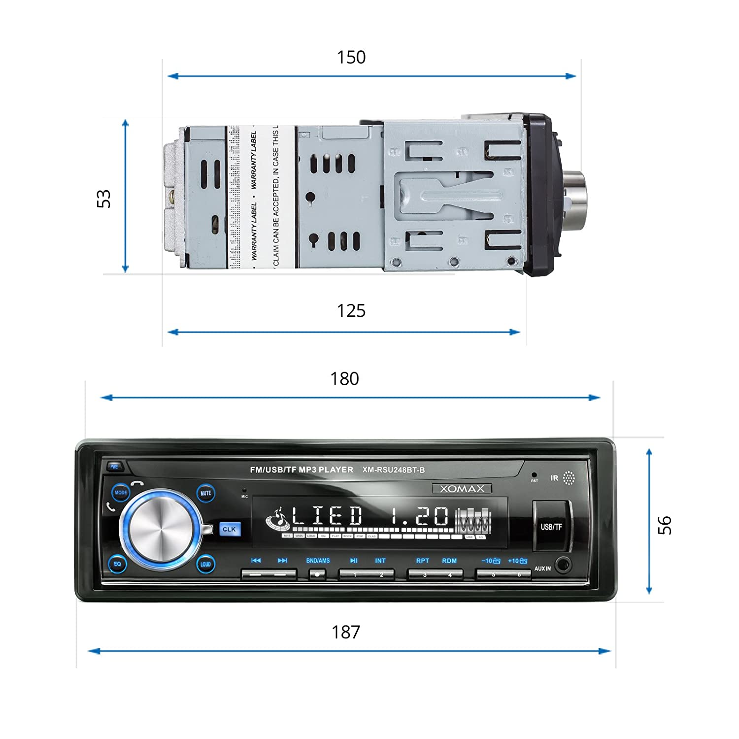 XOMAX XM-RSU248BT-B Autoradio mit Bluetooth: Amazon.de: Elektronik