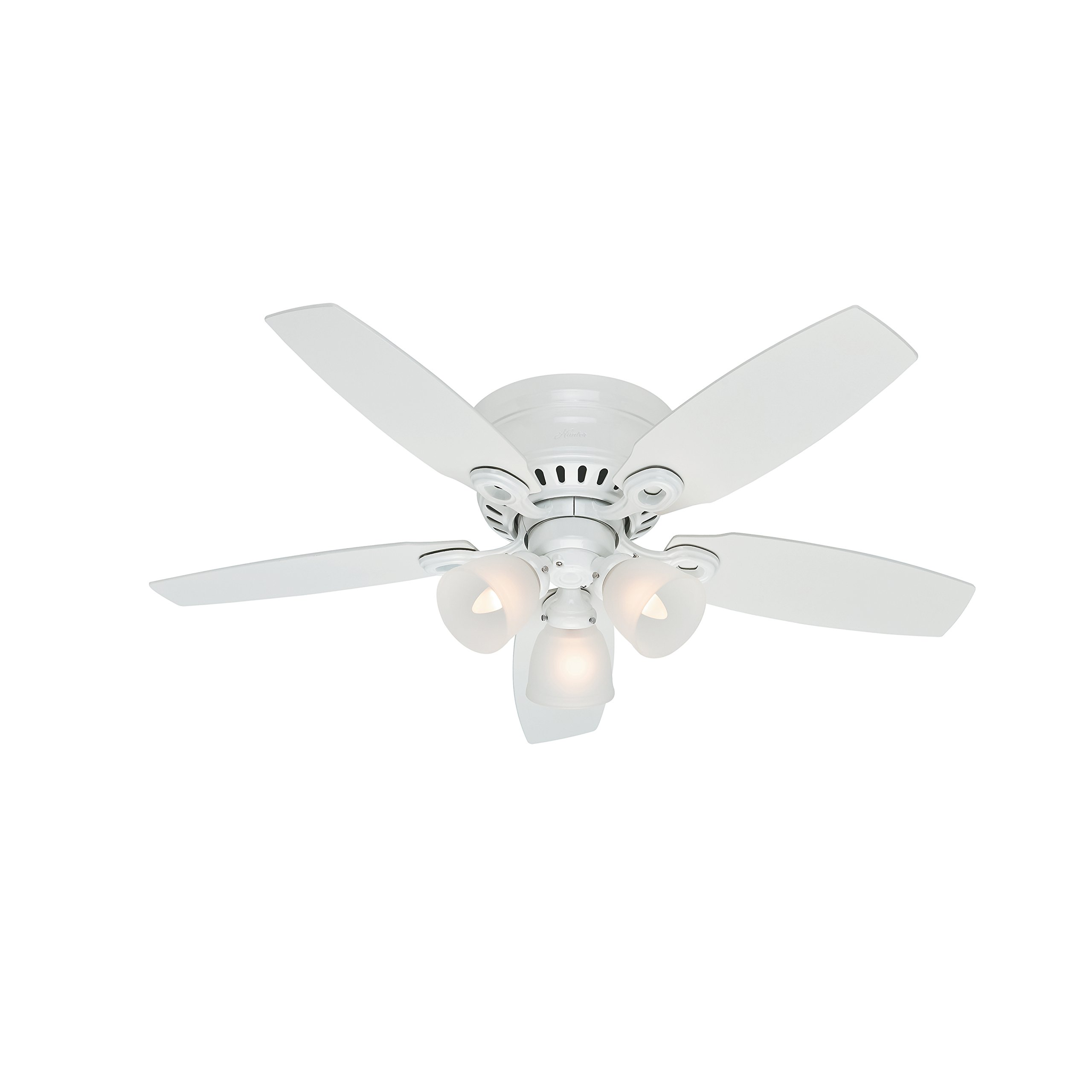 Hunter Fan 46'' Snow White Finish Ceiling Fan with Clear Frosted Glass Light Kit (Certified Refurbished) by Hunter Fan Company (Image #6)