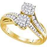 14kt Yellow Gold Womens Princess Round Diamond Soleil Cluster Bridal Wedding Engagement Ring 1/2 Cttw = 0.5 (I1-I2 clarity; H-I color)