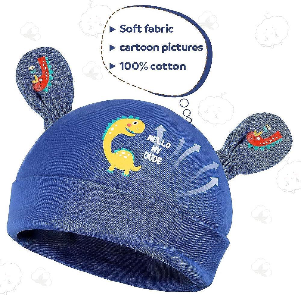 Lictin Newborn Baby Boys Mittens and Caps Set