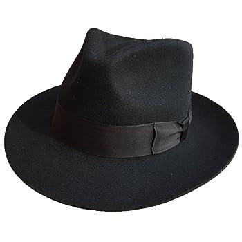Classic Black Men's Wool Felt Godfather Gangster Mobster Gentleman Fedora Hat