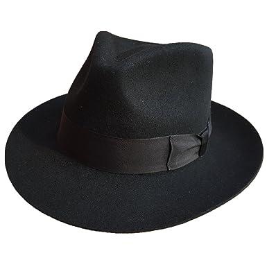 Classic Black Men s Wool Felt Godfather Gangster Mobster Gentleman Fedora  Hat (S  55cm( 9169edb3f73
