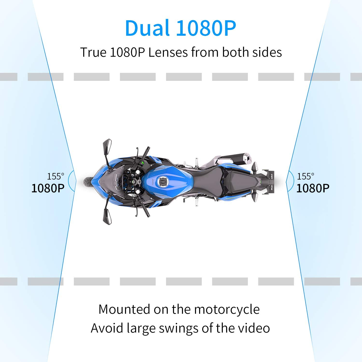 Motowolf M6 Motorcycle Recording Camera System Waterproof Dual Lens 1080P Dash Cam Dvr Sports Action Camera Security Video Recording with 2.7 LCD 155 Degree Angle WiFi /& GPS Support 256G Max