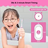 OTraki Kids Sonic Electric Toothbrush with Colorful LED Lights Battery Powered Children Toothbrushes Smart Time Reminder and 2 Extra Soft Change Brush Heads for Girl Age Above 3 Pink