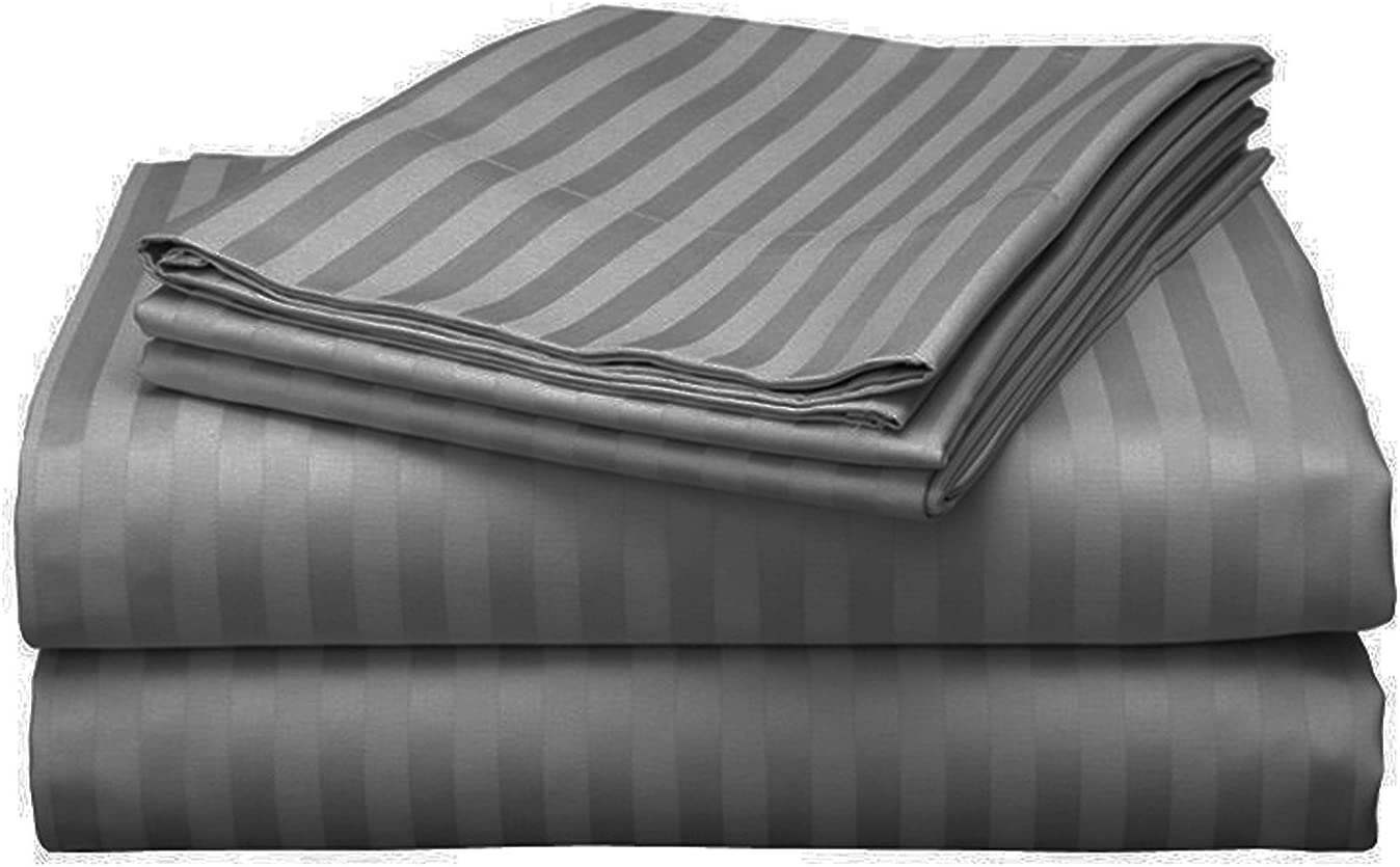 Bed Bath Fashions Fifth Ave Luxury 500 Thread Count 100% Egyptian Quality Cotton Sateen Stripe Sheet Set - Deep Pocket Ultra Soft Welspun Hotel Bed Linens (Queen, Gray)