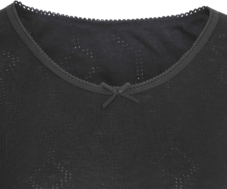Floso Camiseta de Manga Corta t/érmica Interior con Cuello en V de Viscosa para Mujer