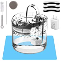 HAPUP Cat Fountain Cat Water Fountain 61OZ/1.8L Automatic Quiet Pet Fountain with 3 Filters 1 USB Pump 1 Cleaning Brush…