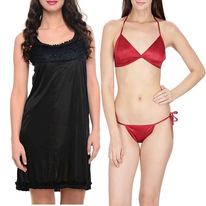 e64153c5d Klamotten Women s Satin Nightwear and Bikini Set Combo (Multicolour ...
