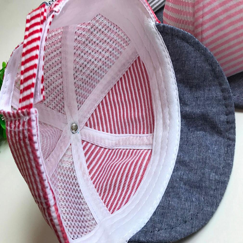 Red Sunsee Summer Hats Cute Casual Striped Soft Eaves Baseball Cap Baby Boy Girl Sun Hat