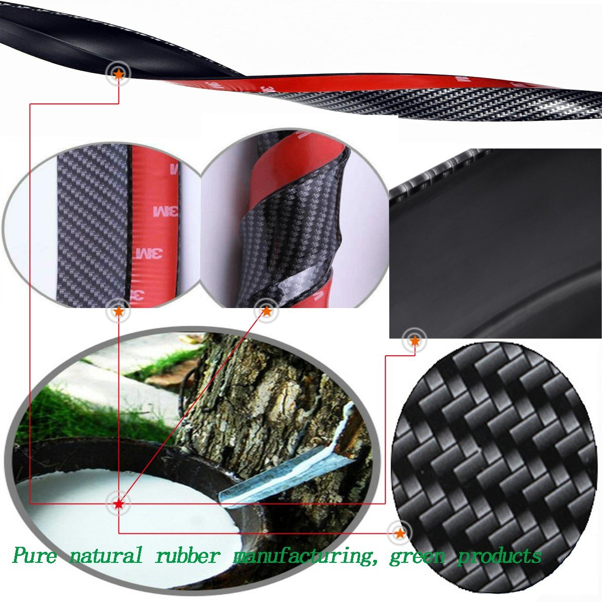 Special Universal Rubber Carbon Fiber Bumper Front Lip;Suitable for Side Skirt Lip Separator 2.5m,Red ByLucky Front Bumper Lip Spoiler,100/% Waterproof and Durable