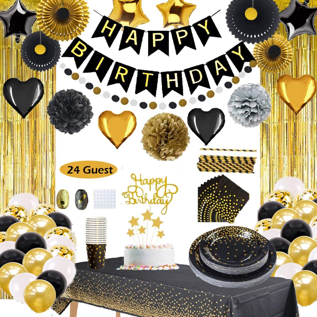 Black and Gold Party Decorations Supplies, Birthday Decorations For Men Women,Happy Birthday Banner, Curtains, Table Runner, Balloons, Plates, Cups, Tissue and more for 24 Guest by JSN Party