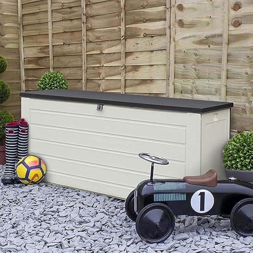 Keter Wood Effect Garden Storage Box Lockable Durable Bench Extra Seat