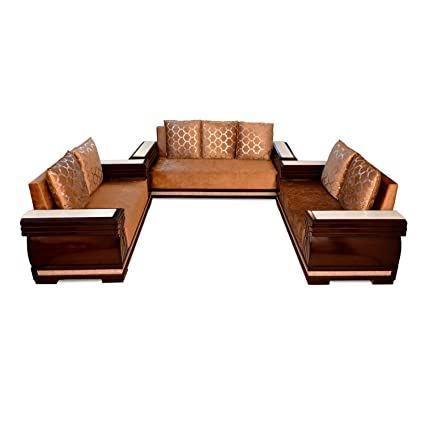 Pharneechar Assam Teak 7 Seater Sofa Set For Living Room