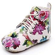 LIVEBOX Infant Baby Girls' Shoes, Soft Sole Anti-Slip Tassels Mocassins Crib Shoes Prewalker Toddler Rose Print Flower Shoes for 0-18 Months Babies (M:6-12 Months/4.72 , RoseWhite)