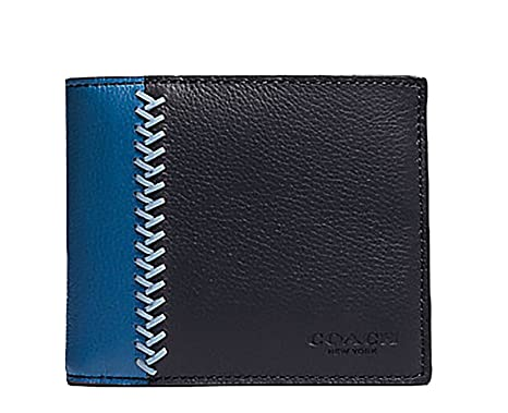 c518758e11 Coach Men's Baseball Stitch Leather Wallet (Black Blue) at Amazon ...