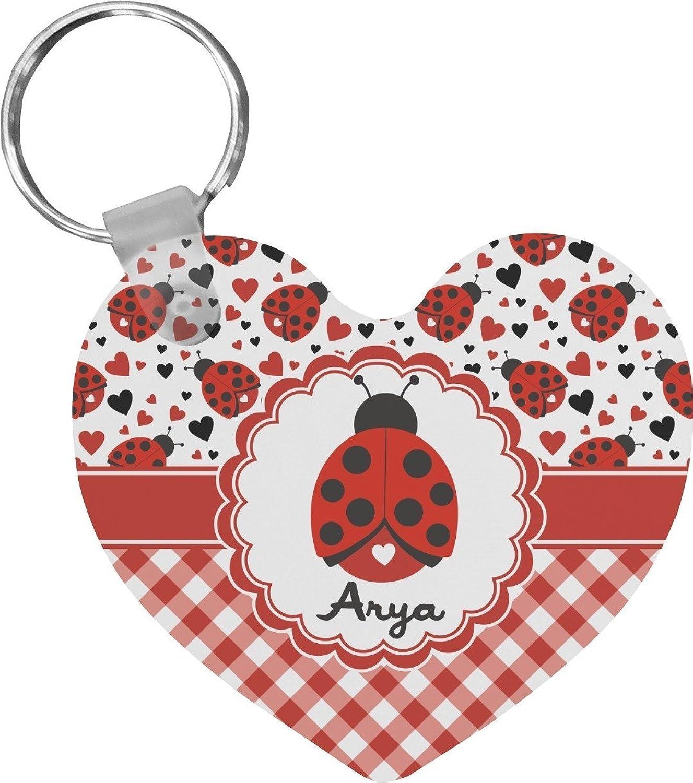 Ladybugs & Gingham Heart Keychain (Personalized)