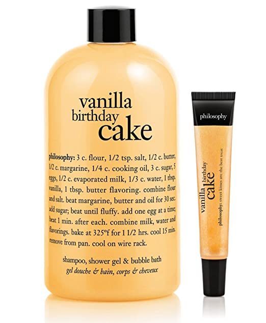 Amazon Philosophy Vanilla Birthday Cake Bath Set 16 Oz Shampoo Shower Gel And Bubble Lip Shine Beauty