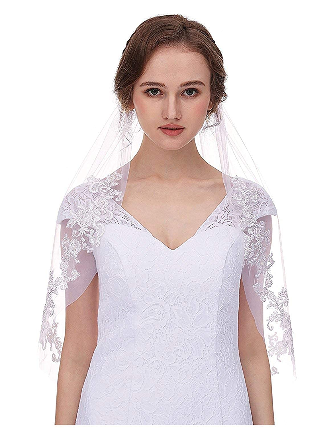 AIBIYI Vintage Inspired Lace Soft Tulle Wedding Veils For Bride With Comb 2 Layers A2 New (without pearls)