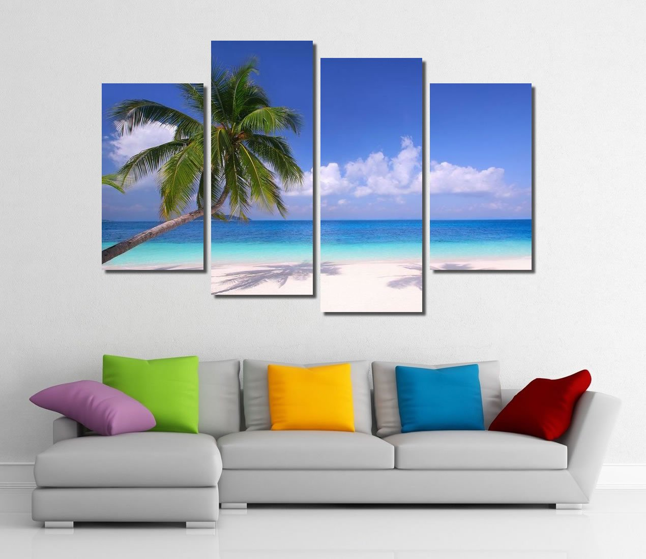Picture Sensations Framed 4-Panel canvas Art Print, Palm Beach Torpical ocean White sand - 48''X32'' by Picture Sensations