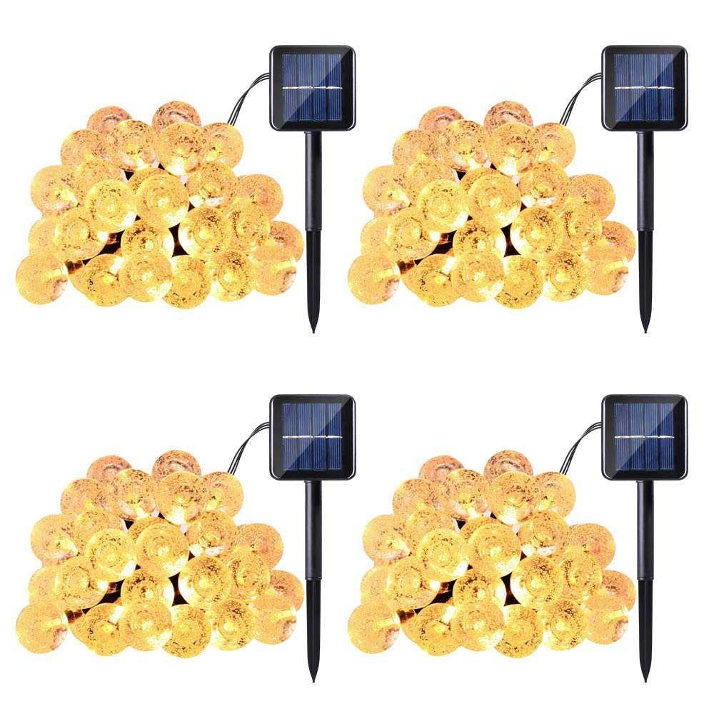 Kehome Solar String Lights 21ft 30 Led Fairy Lights, Bubble Crystal Ball Holiday Party Lights for Outdoor, Patio, Lawn, Garden, Home, Wedding, Christmas Party, Xmas Tree Decoration (4 Pack, Yellow)
