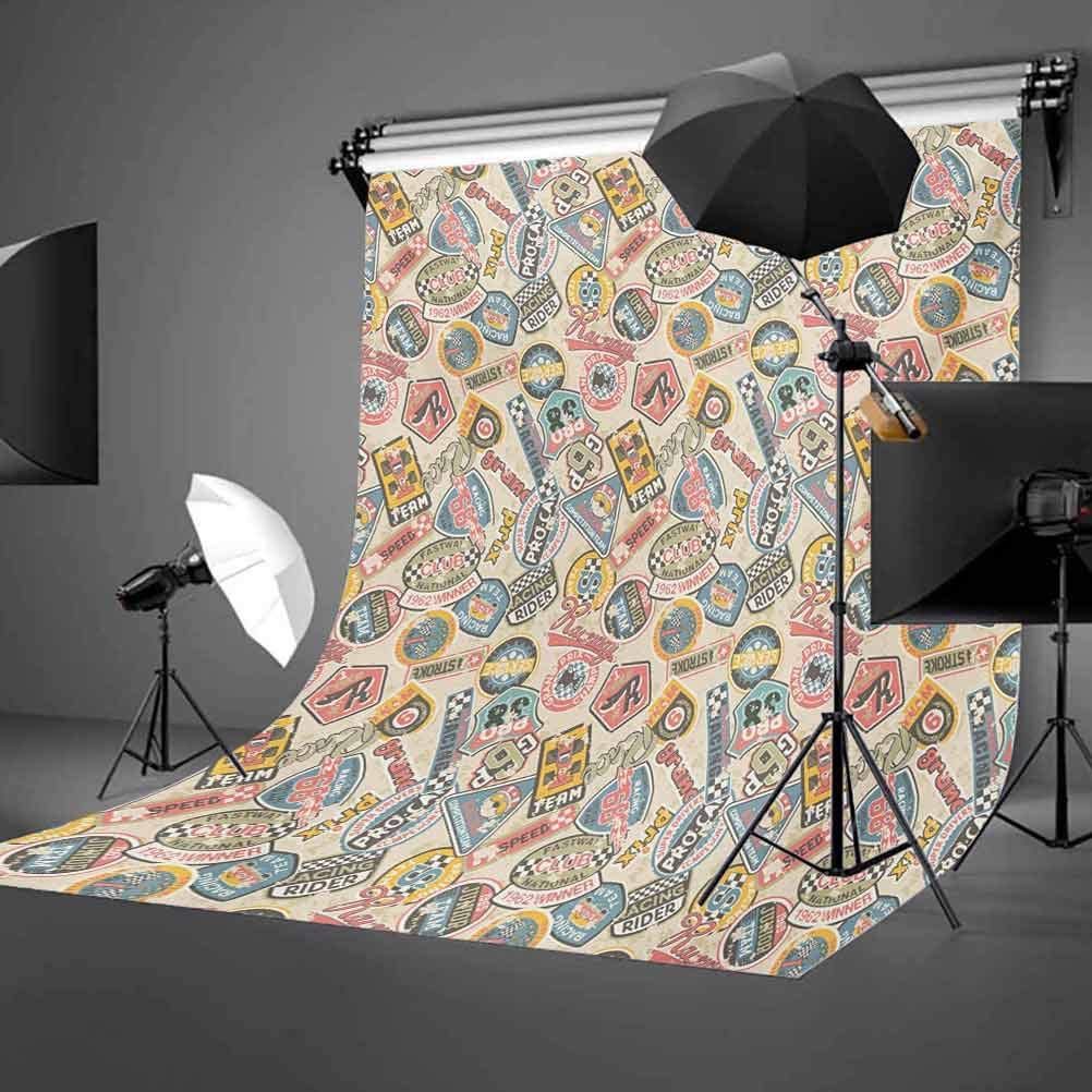 Grunge 8x10 FT Backdrop Photographers,Racing Teams with Colorful Logos Excitement Grand Prix Driving and Riding Themes Background for Photography Kids Adult Photo Booth Video Shoot Vinyl Studio Props