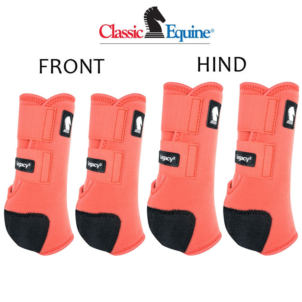 MEDIUM CLASSIC EQUINE LEGACY2 HORSE FRONT HIND SPORTS BOOTS 4 PACK CORAL by Classic Equine