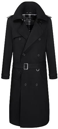 promo code 11007 a311d Herren Schwarz Traditional Zweireiher Langer Trenchcoat Baumwolle Military  Regenmantel mac