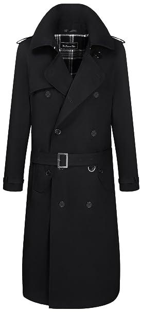 The Platinum Tailor Uomo Nero Tradizionale Doppio Petto Cappotto di Trincea  Lungo di Cotone Militare Pioggia Mac  Amazon.it  Abbigliamento 837e7eca21c