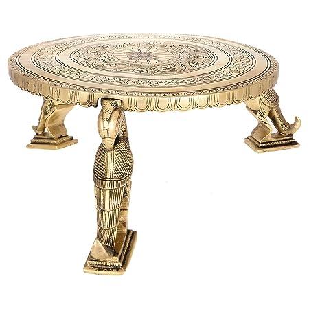 Kapasi Handicrafts Parrot Leg Brass Chowki Bajot Table Patla