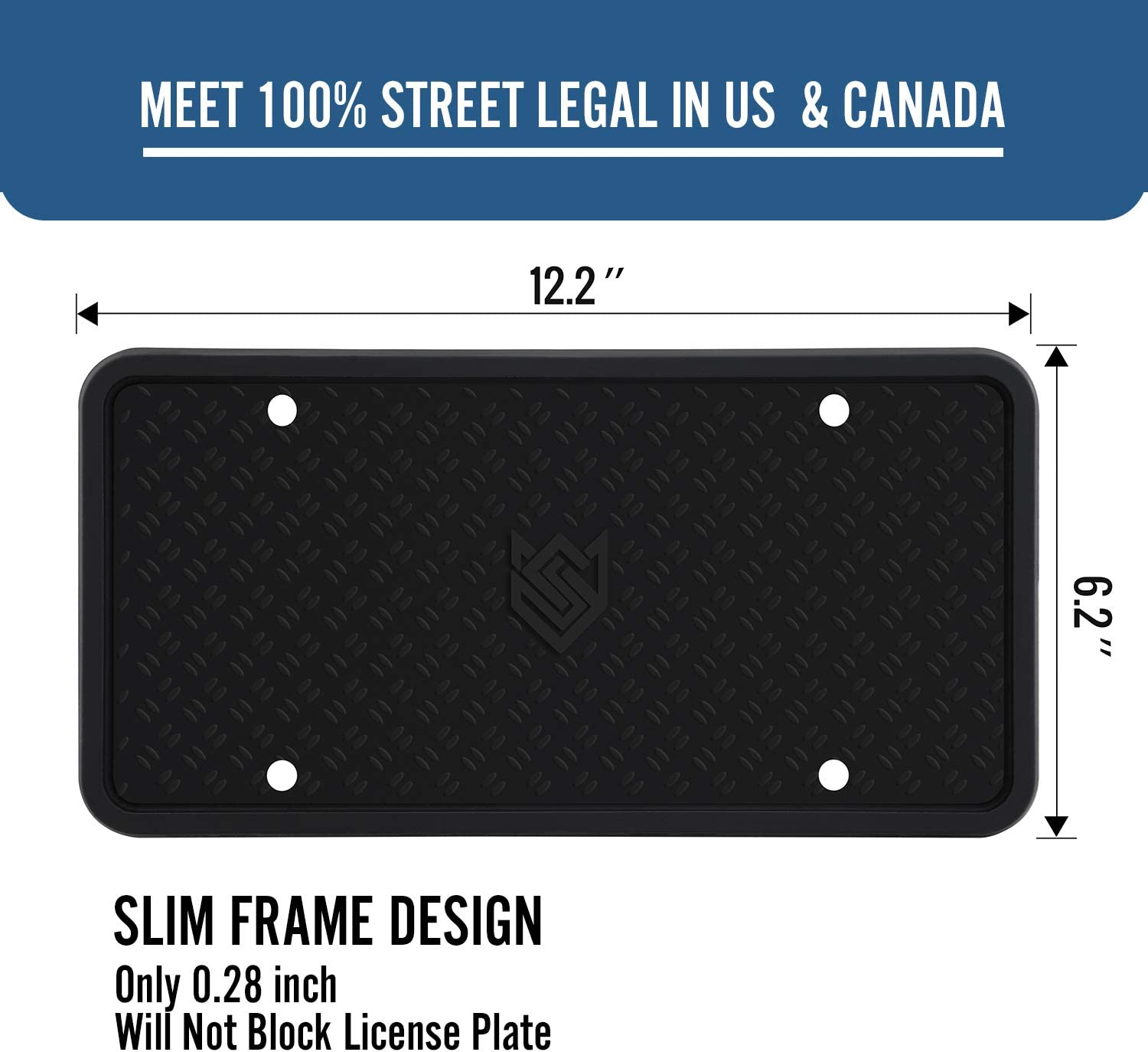 black Seven Sparta 2pack License Plate Frame Silicone Universal American Canada License Plate Holder Rust-proof /& Rattle-proof