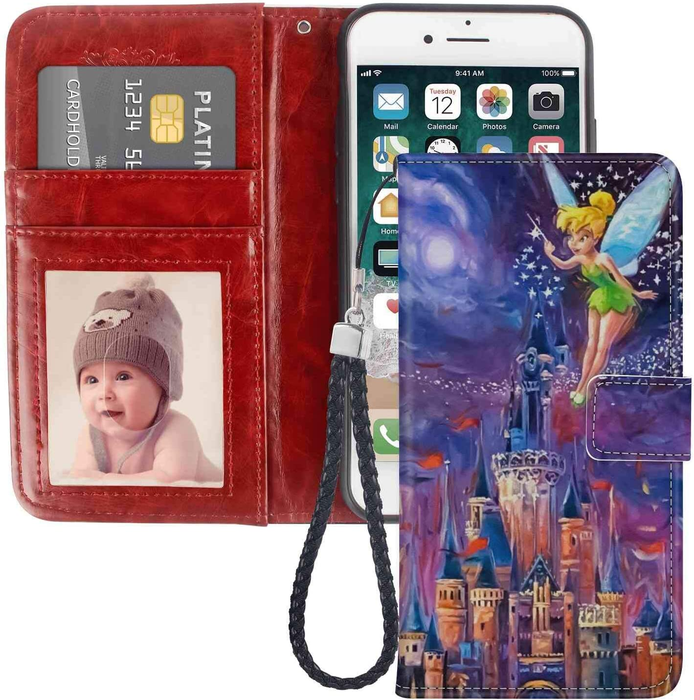 DISNEY COLLECTION Wallet Case for iPhone 8 or iPhone 7 or iPhone SE2 SE(2020) (4.7-Inch) Tinkerbell at Cinderella Castle Leather Wallet Case