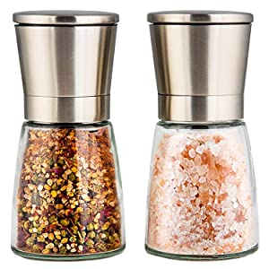 Salt and Pepper Shakers with Silicon Stand (2 pcs) - Premium Salt and Pepper Grinder Set with Adjustable Ceramic Coarseness - Brushed Stainless Steel and Glass Body Mill Set