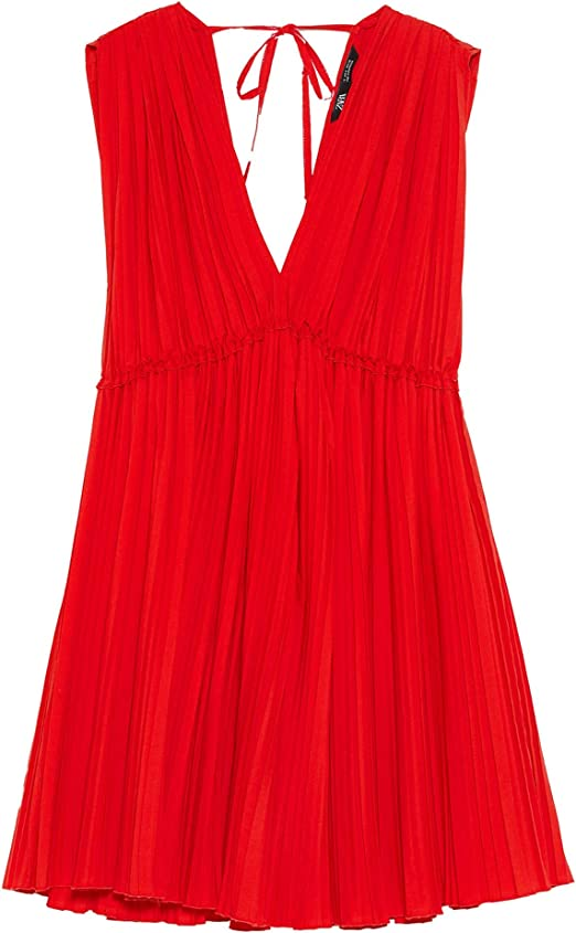 Zara 7557/702 Vestido Plisado de Popelina para Mujer X-Small ...