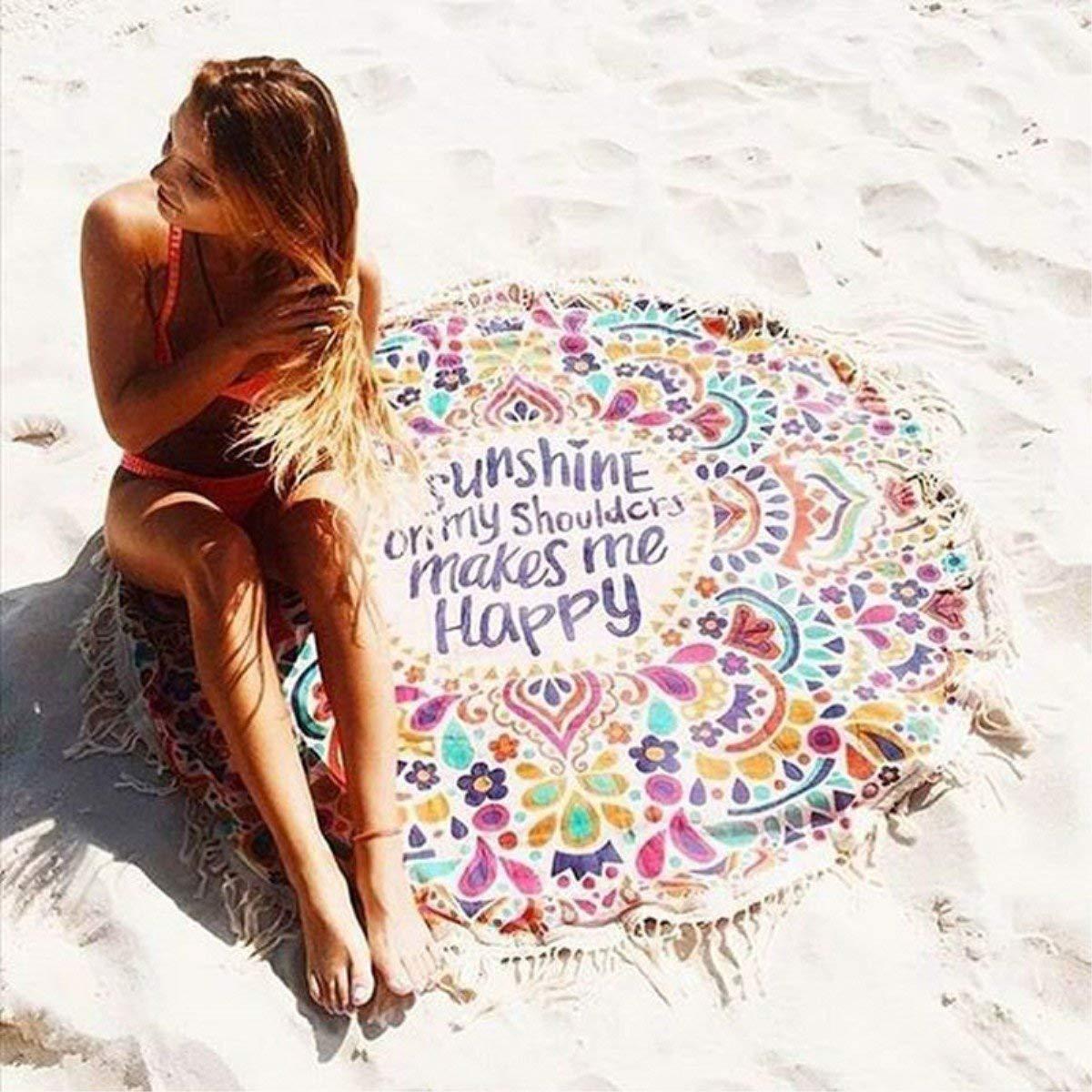 Serviette de Plage, KING DO WAY Drap de plage Serviette Plage Mandala Femme Tapisserie Ronde Fleurs Serviette Plage Yoga Glands Décoratifs Indien Châle de Yoga