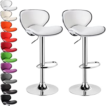 Woltu #280 2 Set Luxury Faux Leather Bar Stools White Swivel Bar ...