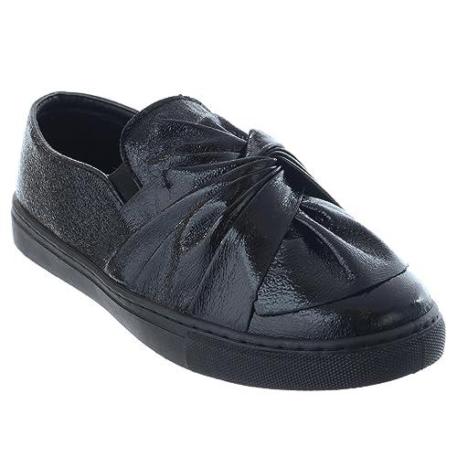 Nuovo Donne Fiocco Piatto Metallizzato Slip-On Scarpe Sportive Donna Sneakers Pump Pattinatrice Scarpe Numeri - Nero 0iiuORpNf